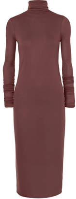 Rick Owens Stretch-jersey Turtleneck Midi Dress - Burgundy