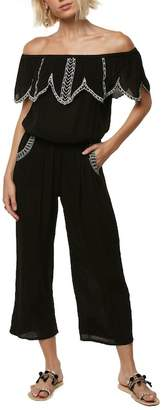 O'Neill Malaga Embroidered Off-the-Shoulder Jumpsuit
