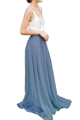 ba9cd4396 Uswear Women Floor Length A-line Tulle Skirt Bridal Bridesmaids Wedding  Party Long High Waisted
