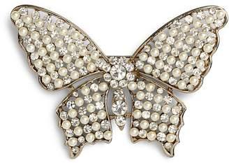Nina Faux Pearl & Crystal Butterfly Brooch
