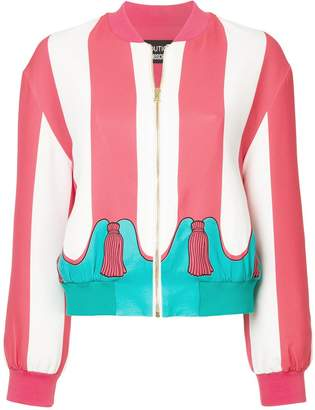 Moschino striped bomber jacket with tassel print
