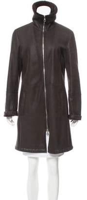 Rene Lezard Zip-Up Shearling Coat