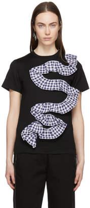 Facetasm Black Gingham Ruffle T-Shirt