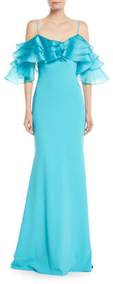 Badgley Mischka Organza Ruffle-Sleeve Mermaid Gown
