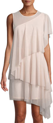 BCBGMAXAZRIA Mesh Illusion One-Shoulder Mini Dress
