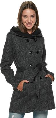 Iz Byer Juniors' Double Breasted Tweed & Fleece Hooded Jacket
