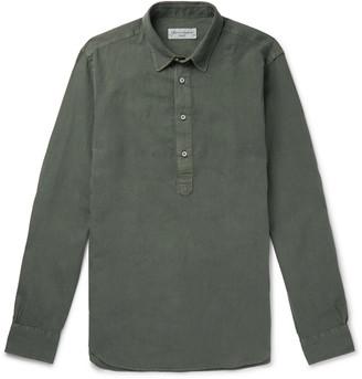 Officine Generale Auguste Slim-Fit Cotton-Poplin Half-Placket Shirt