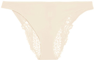 Lace And Stretch-jersey Briefs - Cream