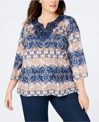Alfred Dunner Plus Size News Flash Lace-Embellished Abstract-Print Top