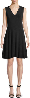 Dex Shimmer Scalloped Fit-and-Flare Dress
