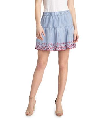 Vineyard Vines Embroidered Flounce Pull On Skirt