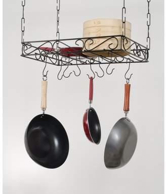 "Concept Housewares Concept Housewares, Black Metal Scrolled Iron Kitchen Pot Rack 24x16"" ceiling mounted"