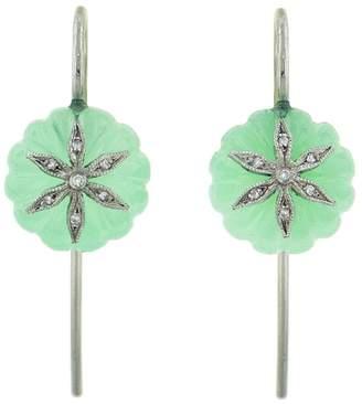 Cathy Waterman Chrysoprase Diamond Wildflower Bead Earrings - Platinum