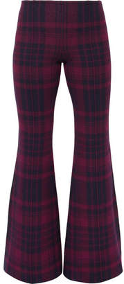Sonia Rykiel Checked Wool-felt Flared Pants - Navy