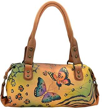Anuschka Anna by Genuine Leather Top Zip Satchel | Hand-Painted Original Artwork |
