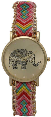 OLIVIA PRATT Olivia Pratt Womens Yellow Braided Elephant Print Dial Strap Watch 14811