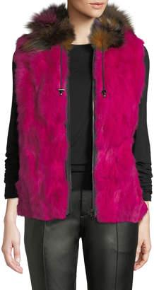 Adrienne Landau Zip-Front Rabbit/Fox Fur Vest, Fuchsia