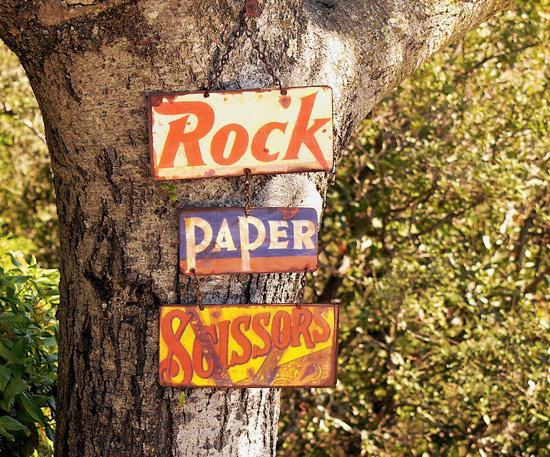 Rock Paper Scissors Vintage Tin Plaque