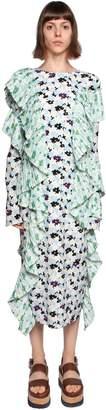 Kenzo Floral Printed Ruffled Crepe Midi Dress