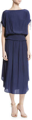 Ramy Brook Donata High-Neck Smocked-Waist Long Dress