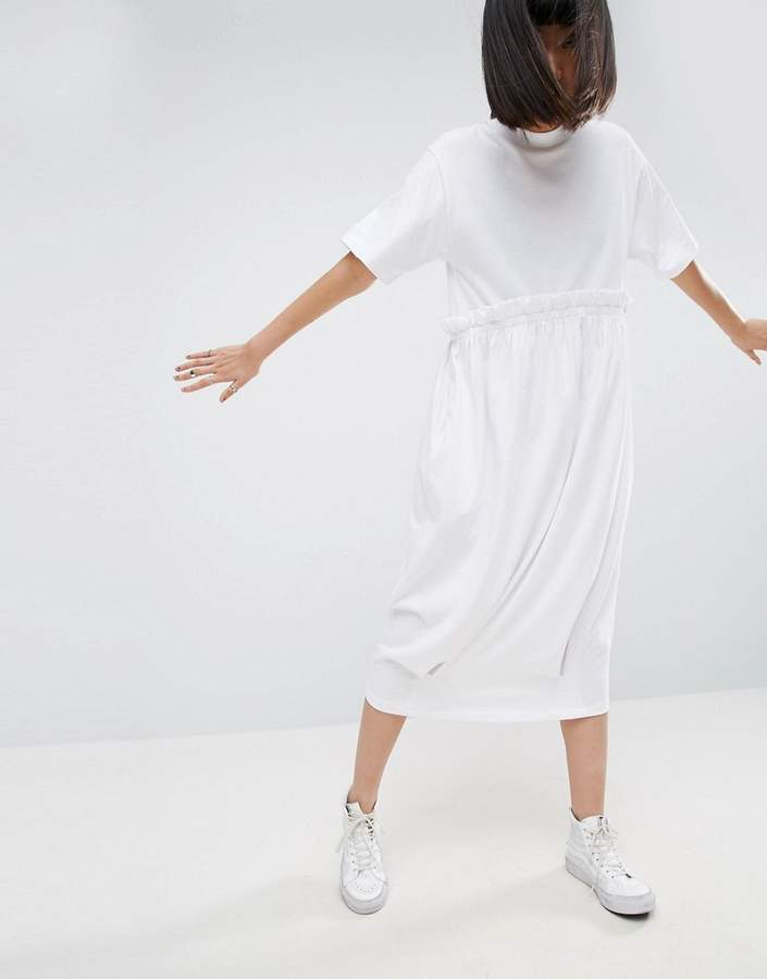 AsosASOS White ASOS WHITE Contrast Frill Jersey T-Shirt Dress