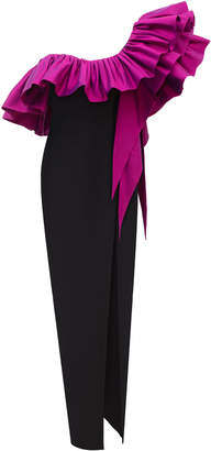 Rasario Ruffled One-Shoulder Crepe Gown Size: 34