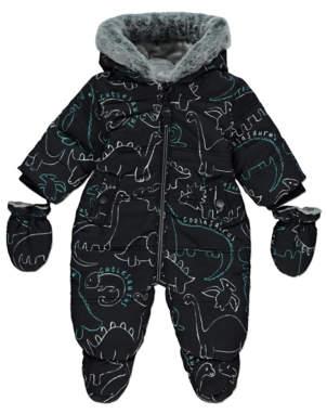 George Black Dinosaur Print Snowsuit with Mittens