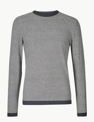 M&S CollectionMarks and Spencer Cotton with Linen Stripe Jumper