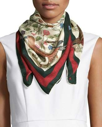 Gucci Square Silk-Twill Condor Scarf, Ivory/Green $440 thestylecure.com