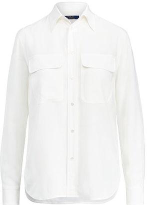 Polo Ralph Lauren Silk Crepe Button-Down Shirt $198 thestylecure.com