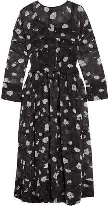Carven Printed Tiered Voile Midi Dress - Black