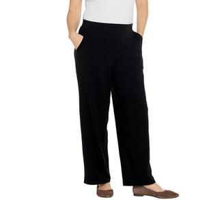 Denim & Co. Beach Petite Pull-On Wide Leg Knit Pants