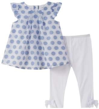 Absorba Polka Dots Tunic & Bow Leggings - Light/Pastel Blue, Size 3-6m