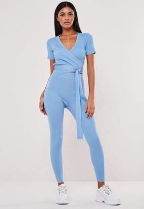 Missguided Blue Co Ord Knitted Rib Super High Waisted Leggings, Blue