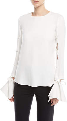 Oscar de la Renta Split-Sleeve Stretch Silk Blouse with Detached Cuffs