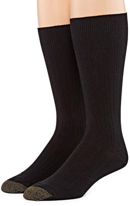 Gold Toe Men's 2 Pair Wellness Comfort Top Nylon Crew Socks