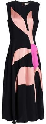 Roksanda Fluted Satin-Paneled Silk-Blend Crepe Midi Dress