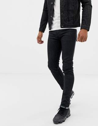 N. Liquor Poker jeans with pinstripe in black