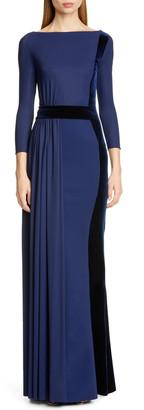 Chiara Boni Macalyn Velvet Trim Column Gown