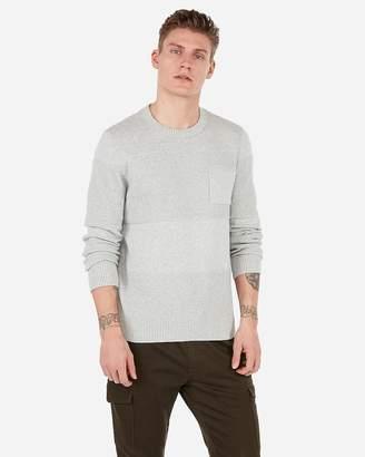 Express Mixed Textured Stitch Crew Neck Pocket Sweater