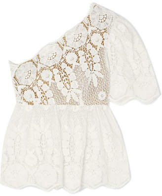 Miguelina Eleanor One-shoulder Guipure Lace Top - White