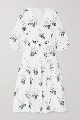 Les Rêveries Ruffle-trimmed Floral-print Cotton-voile Wrap Dress - White