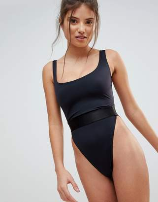 Asos DESIGN recycled Fuller Bust high leg elastic waist swimsuit dd-g