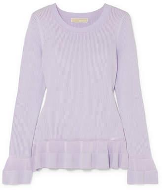 MICHAEL Michael Kors Pointelle-knit Peplum Sweater