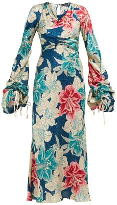 Etro Tamarindo Beach Silk Jacquard Dress - Womens - Blue Multi