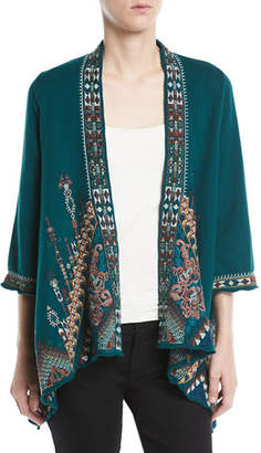 Johnny Was Nala Embroidered Knit Draped Cardigan