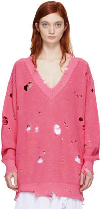 MSGM Pink Distressed V-Neck Sweater