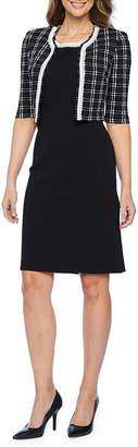 MAYA BROOKE Maya Brooke 3/4 Sleeve Embellished Jacket Dress