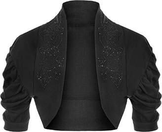 R KON Women's Beaded Ruched Cap Sleeve Shrugs Sequin Bolero Short Crop Cardigan Top ML