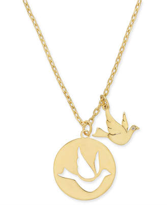 """Kate Spade Gold-Tone Bird Pendant Necklace, 15-1/2"""" + 3"""" extender"""